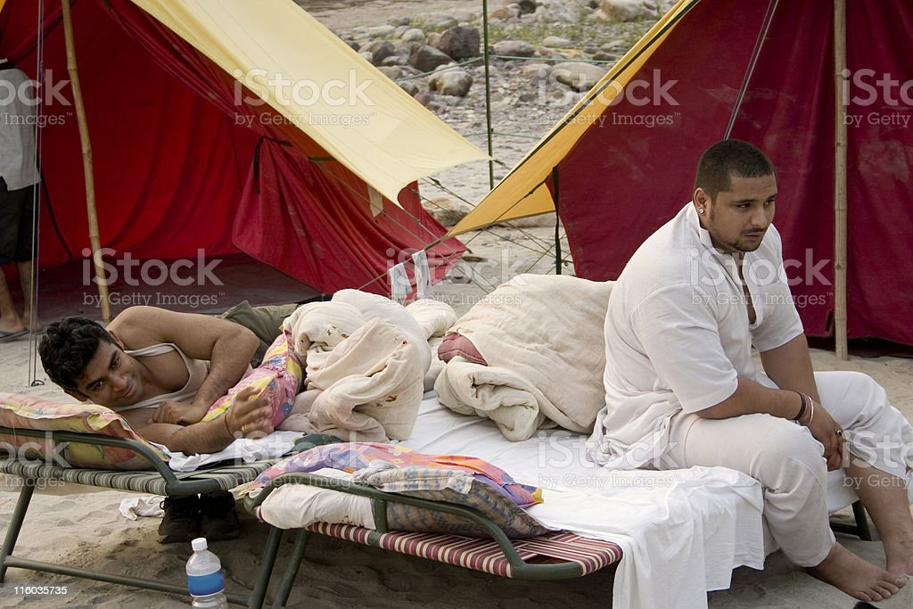 People at the Camp situated near River Ganges Rishikesh India royalty-free stock photo