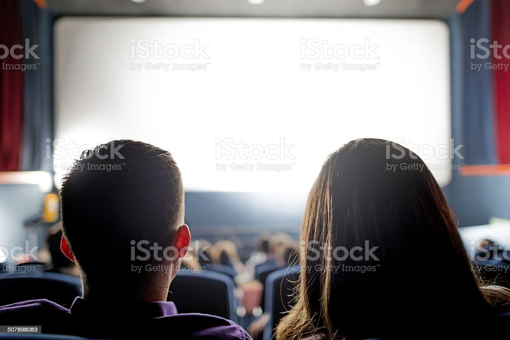 People at the cinema stock photo