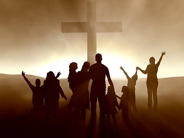 people at the cross - praise and worship stock photos and pictures