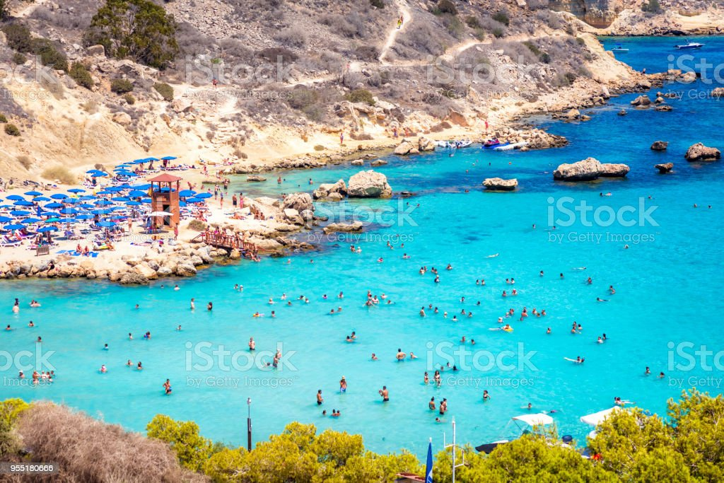 People at the famous beach of Konnos Bay beach near Protaras, Ayia Napa. Famagusta District, Cyprus stock photo