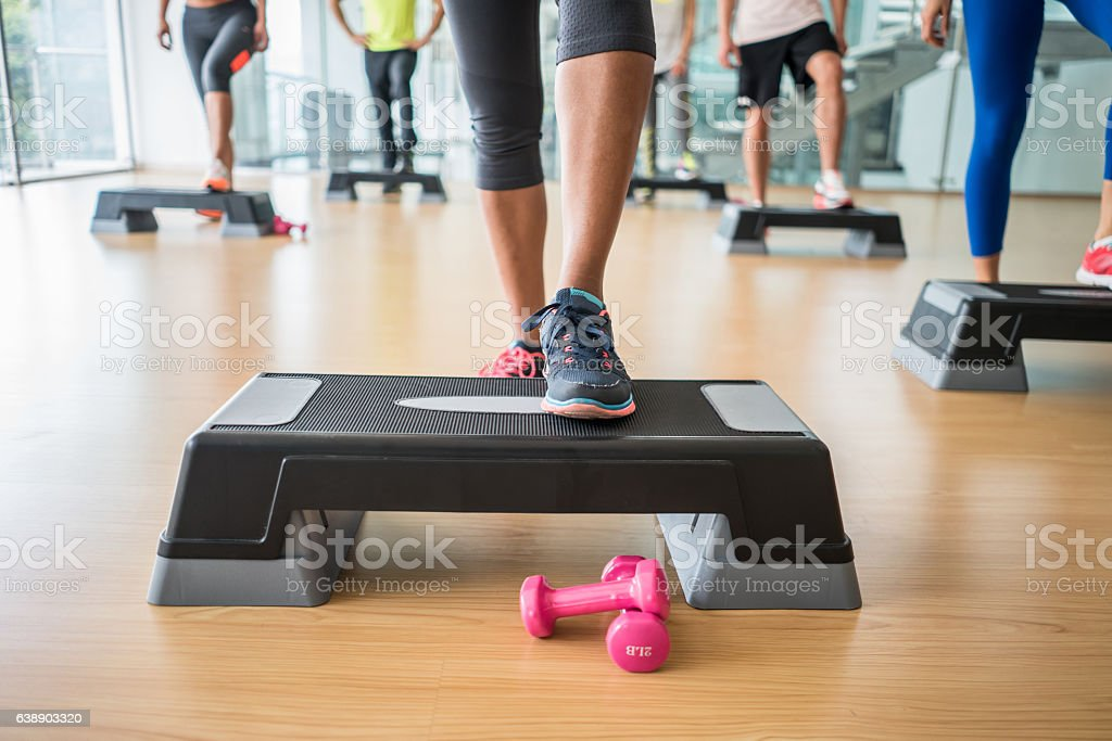 People at the gym in an aerobics class royalty-free stock photo