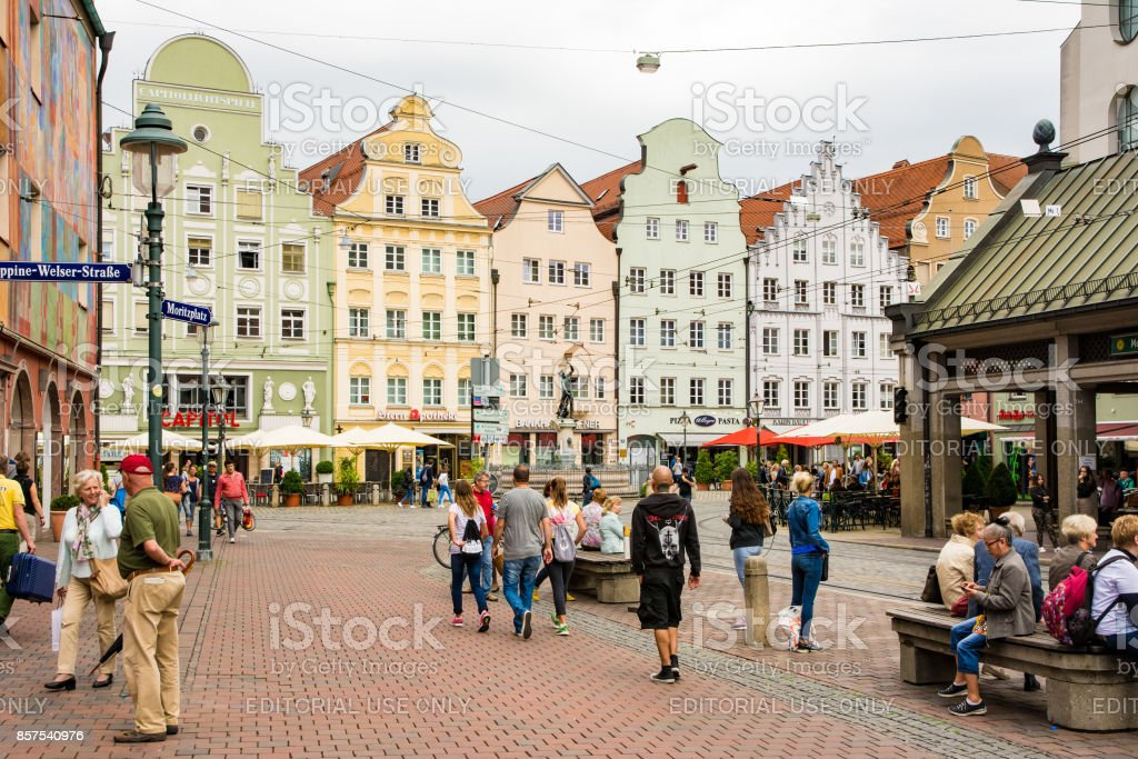 People at the historic center of Augsburg stock photo