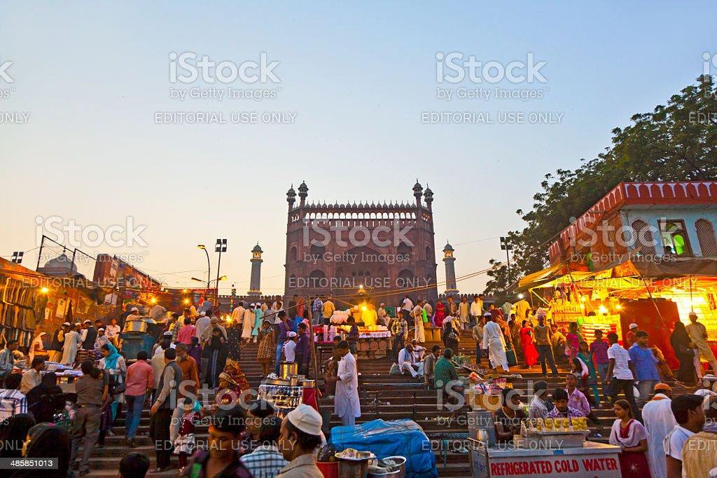 people at the Meena Bazaar Market  in Delhi, India. stock photo