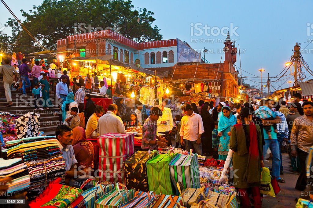 people at the Meena Bazaar Market  in Delhi, India. stock photo
