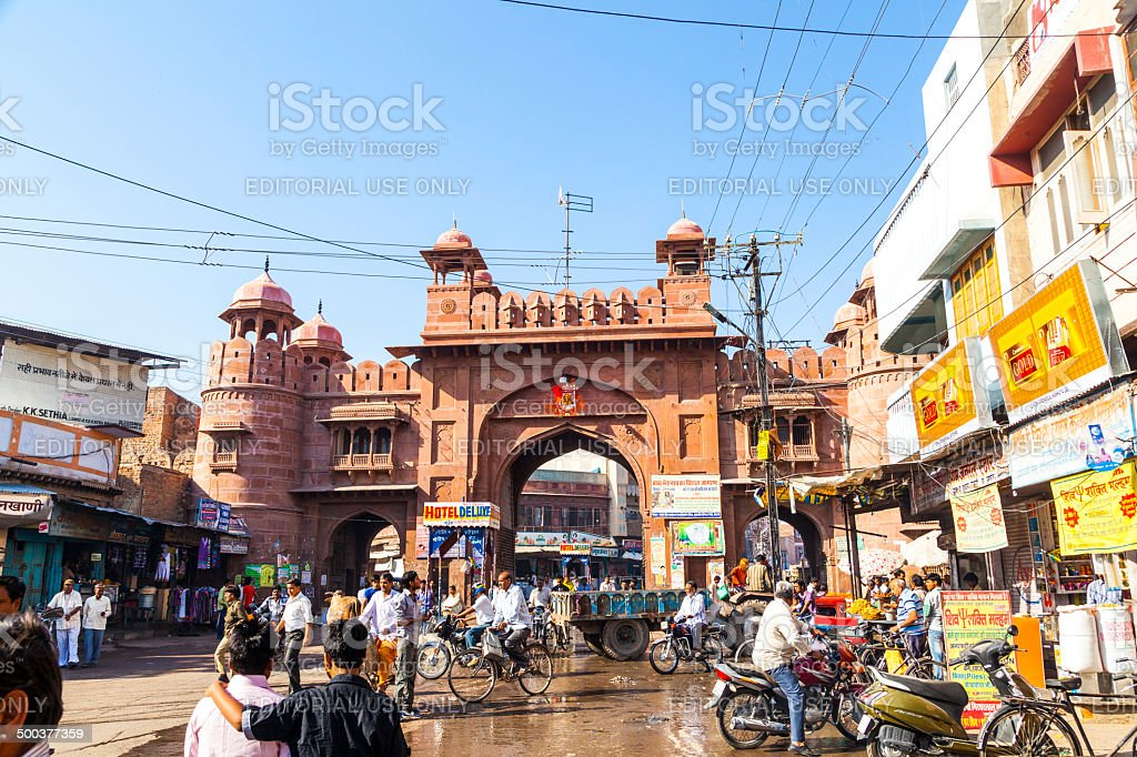 people at the old city gate in Bikaner stock photo
