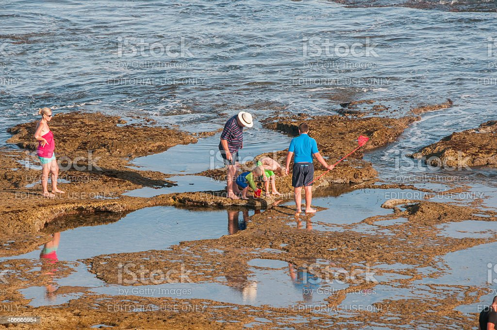 People at the Reebok beach stock photo