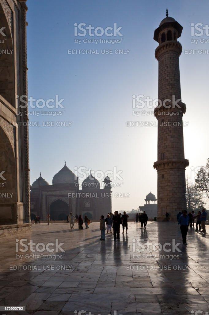 People at the Taj Mahal stock photo