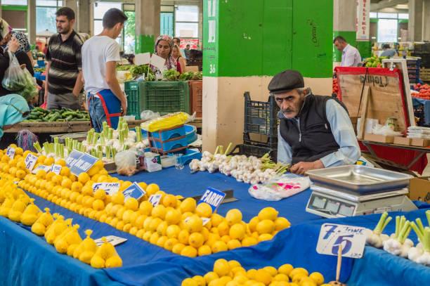 Eskisehir, Turkey - June 15, 2017: People at traditional typical Turkish grocery bazaar in Eskisehir, Turkey stock photo