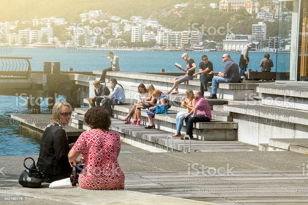 People at Wellington waterfront, north island of New Zealand stock photo