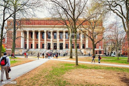 Cambridge, USA - April 29, 2015: People at Widener Library at Harvard Yard of Harvard University, Cambridge, Massachusetts, USA.