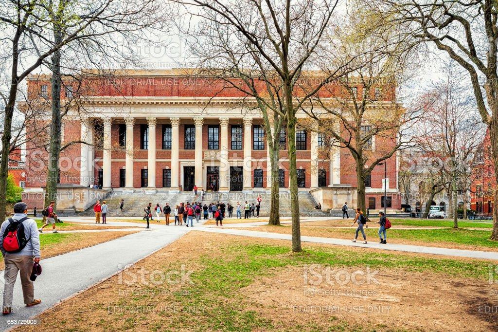 People at Widener Library at Harvard Yard of Harvard University stock photo