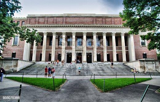 Cambridge, USA - August 26, 2010: People at Widener Library at Harvard Yard of Harvard University, Cambridge, Massachusetts, USA.