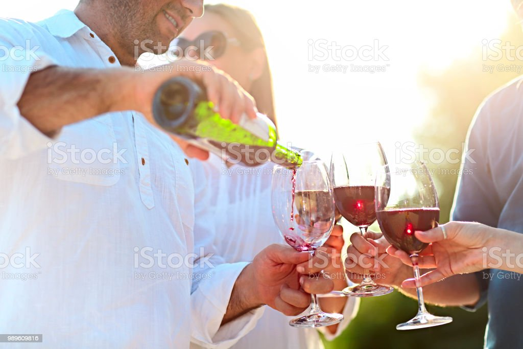 People at wine outdoor party stock photo