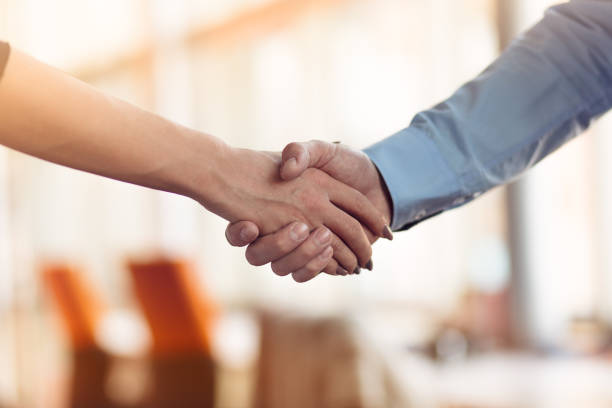 People at work: man and woman hand shaking at a meeting stock photo