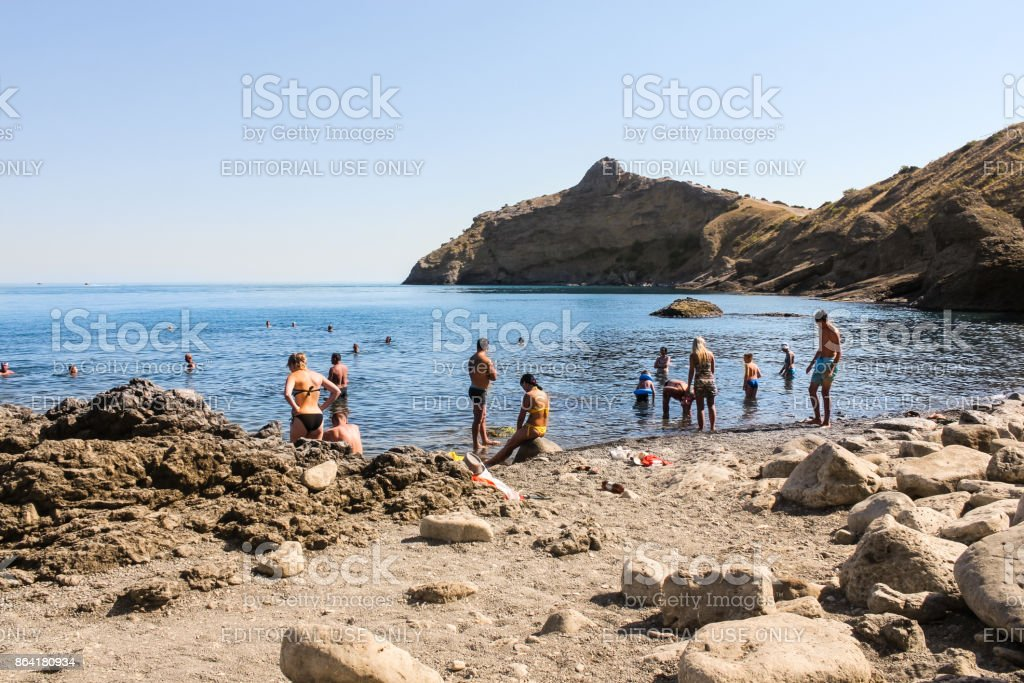 People bathe in the sea. royalty-free stock photo