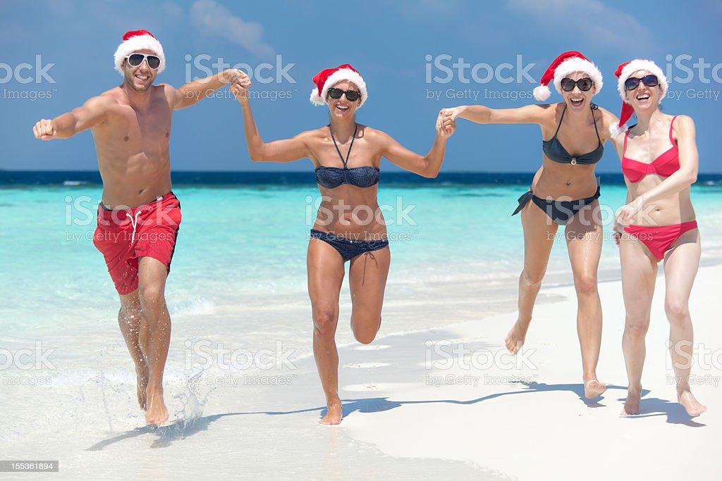 people beach christmas royalty-free stock photo