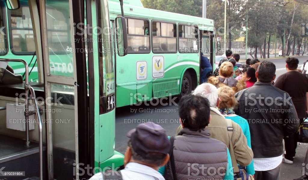 People Boarding Mexico City Public Transportation Bus View Mexico Stock Photo Download Image Now Istock