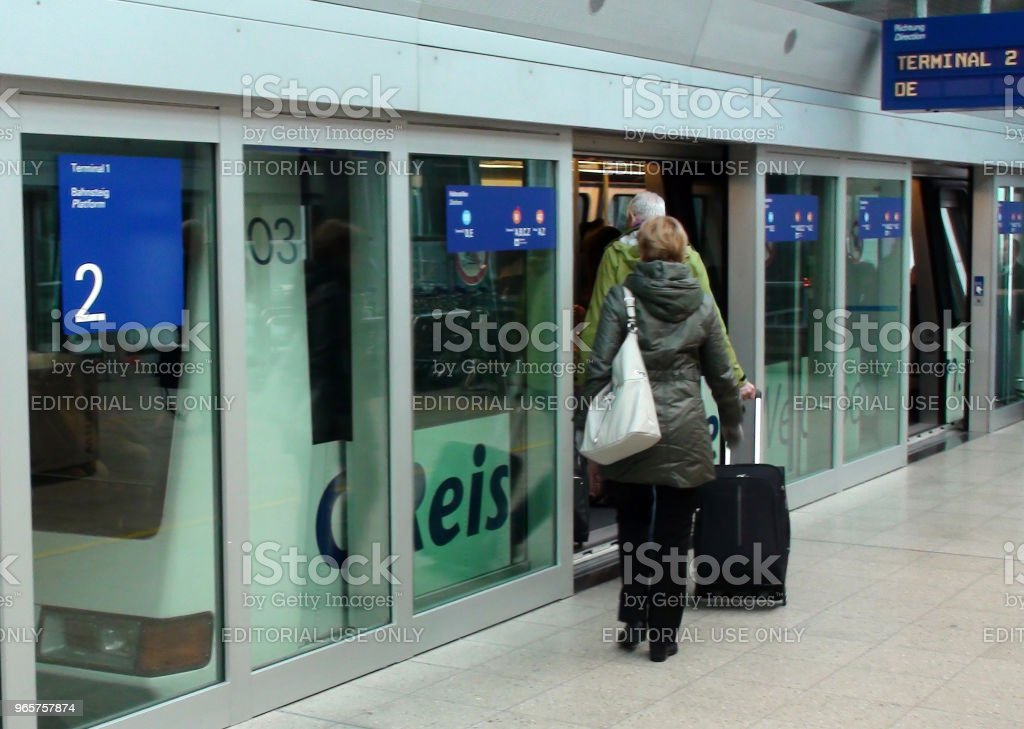 People Boarding Sky Train View At Frankfurt International Airport Germany Europe - Royalty-free Airport Stock Photo