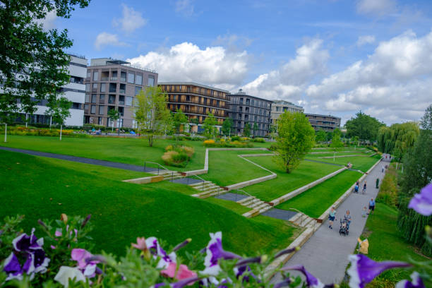 People, buildings and surrounding landscape at the 2019 Federal Garden Show BUGA in Heilbronn, Germany stock photo