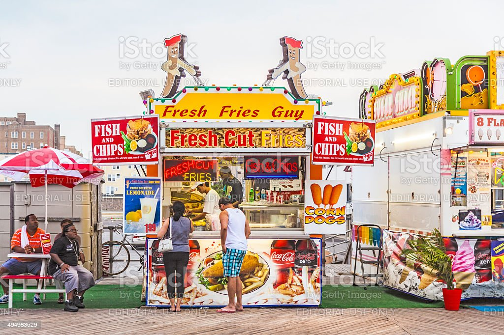 people buy fast food at the pier of Atlanic City stock photo