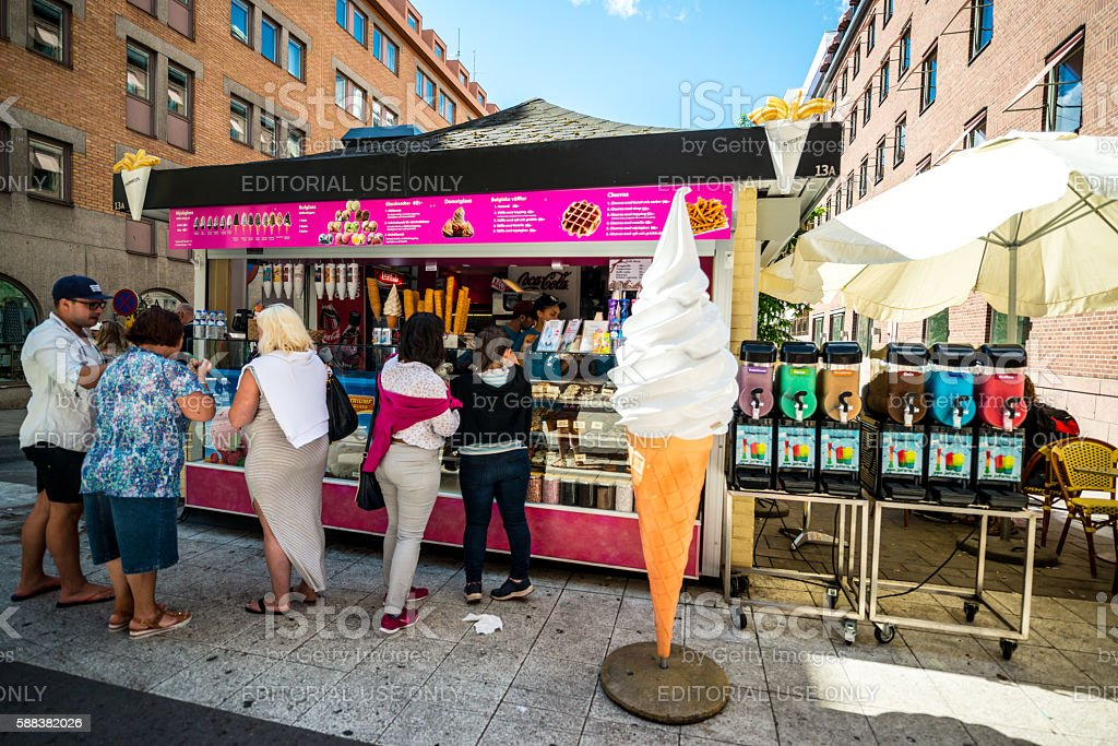 People buying ice-cream on Stockholm street, Sweden stock photo