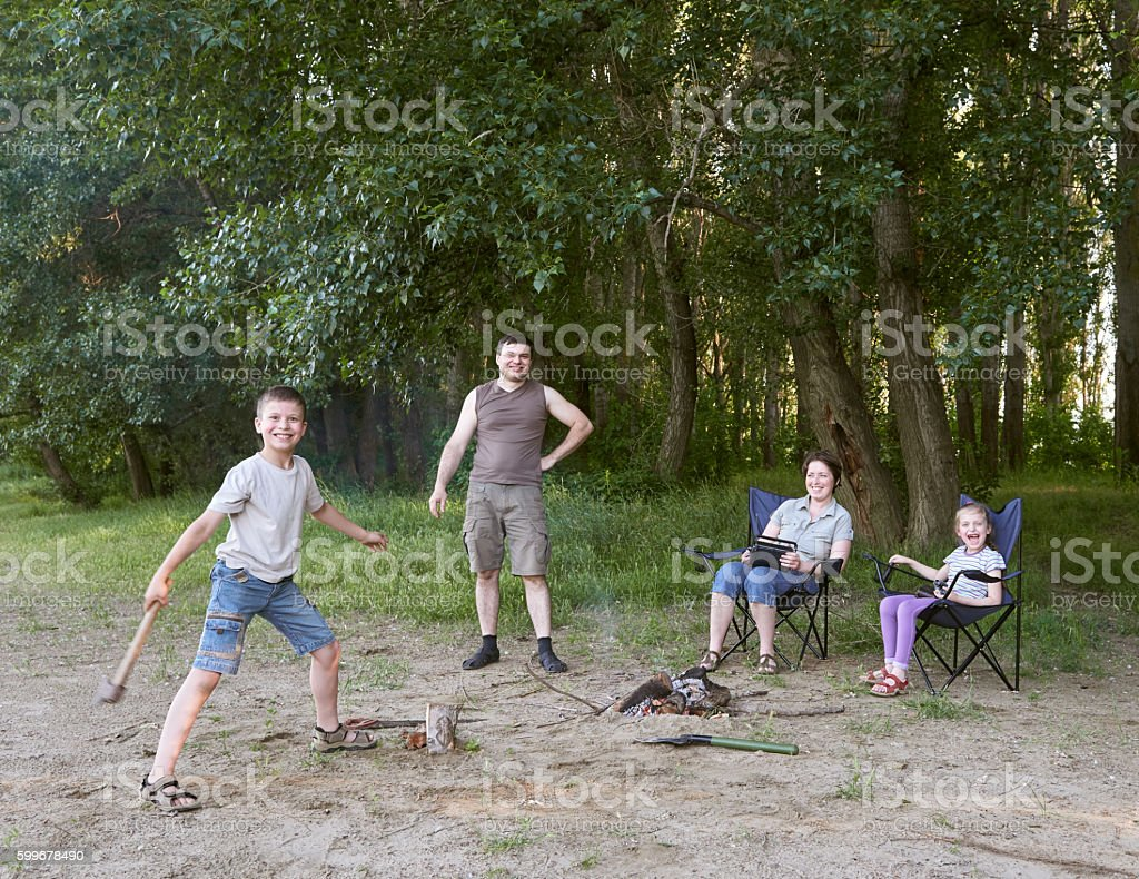 People Camping In Forest Family Active Nature Kindle Fire Royalty Free Stock