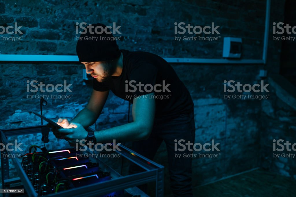 People can track the mining online stock photo