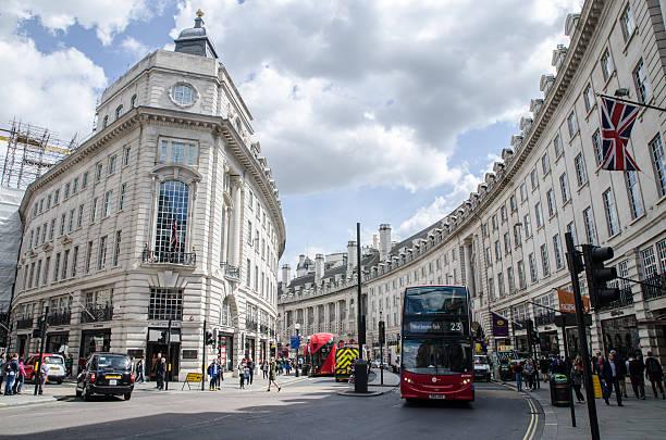 Personen, Auto und Doppeldecker-bus übergeben von der Regent Street entfernt – Foto