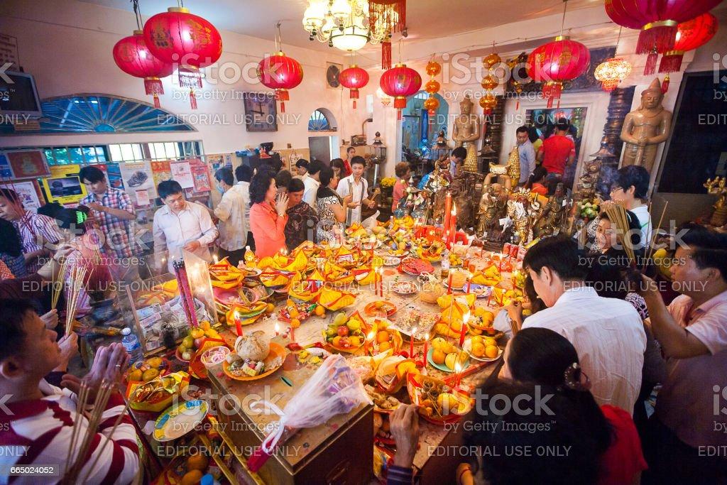 PHNOM PENH, Kambodscha - 31 Januar 2014 Menschen feiern Chinese New Year am 31. Januar 2014, in Phnom Penh, Kambodscha – Foto