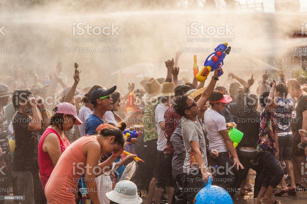 People celebrate in Songkran Festival Day Chiangmai, Thailand - April 14, 2016: People celebrate Songkran Festival Day in old city of Chiangmai Activity Stock Photo