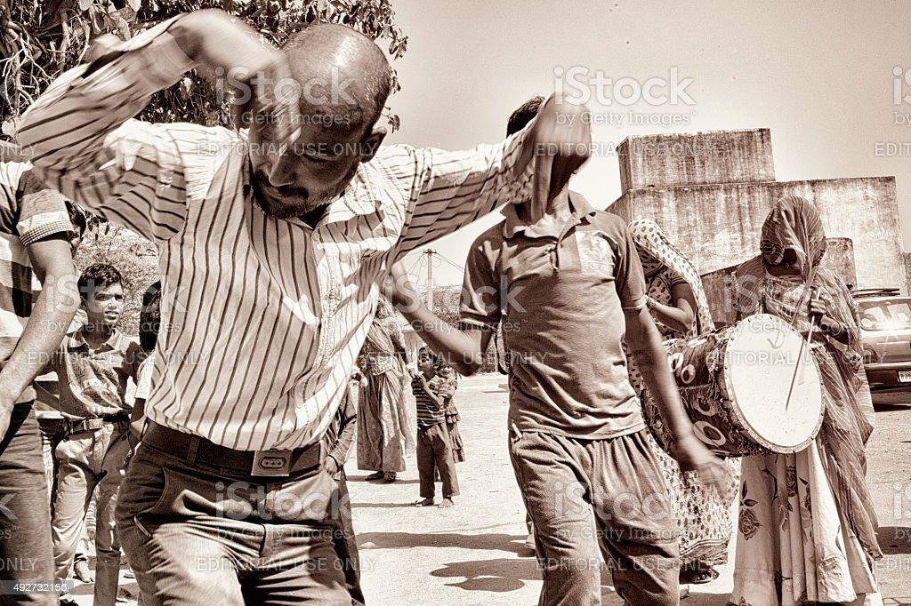 People Celebrating Holi Festival in Salapura, Rajasthan, India stock photo