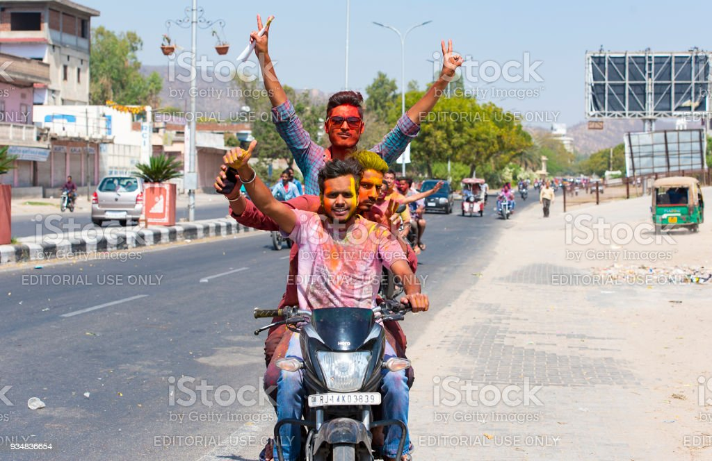 People celebrating Holi in Jaipur on March 02. 2017 in India stock photo