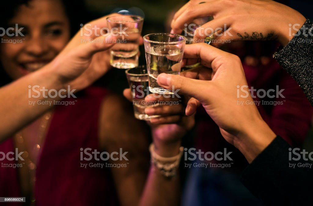 People celebrating in a party stock photo