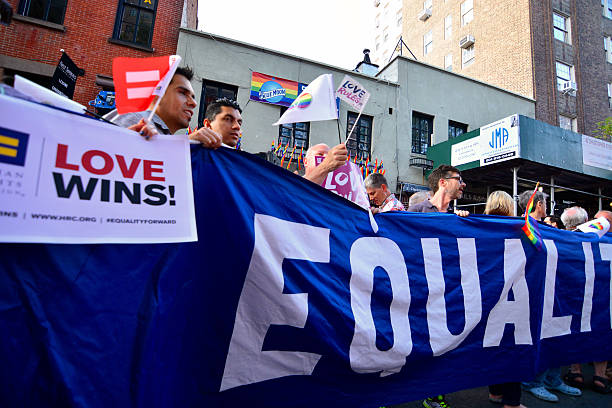 People celebrating LBGT gay marriage rights in New york stock photo