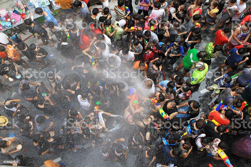 People celebrating the Songkran New Year Festival in Bangkok, Thailand. stock photo