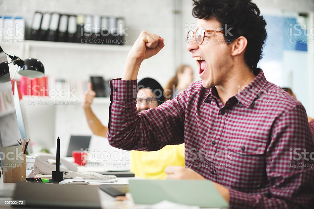 People Celebration Success Working Successful Concept stock photo