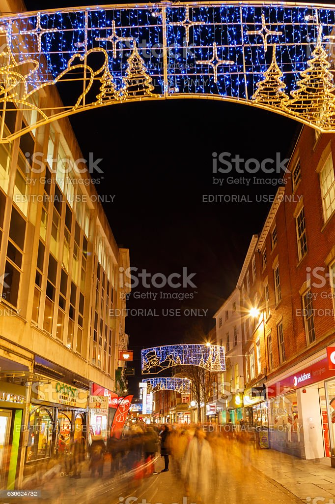 People Christmas shopping, Clumber Street, Nottingham. stock photo