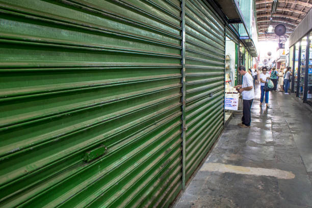 People circulate through the commerce of the municipal market of Ribeirao Preto stock photo