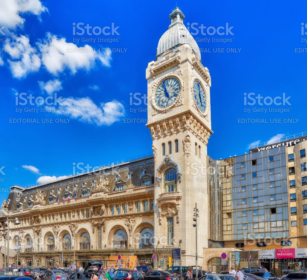 People, city views of one of the most beautiful cities in the world - Paris. Railways Station Gare de Lyon is one of the oldest and most beautiful train stations in Paris. stock photo