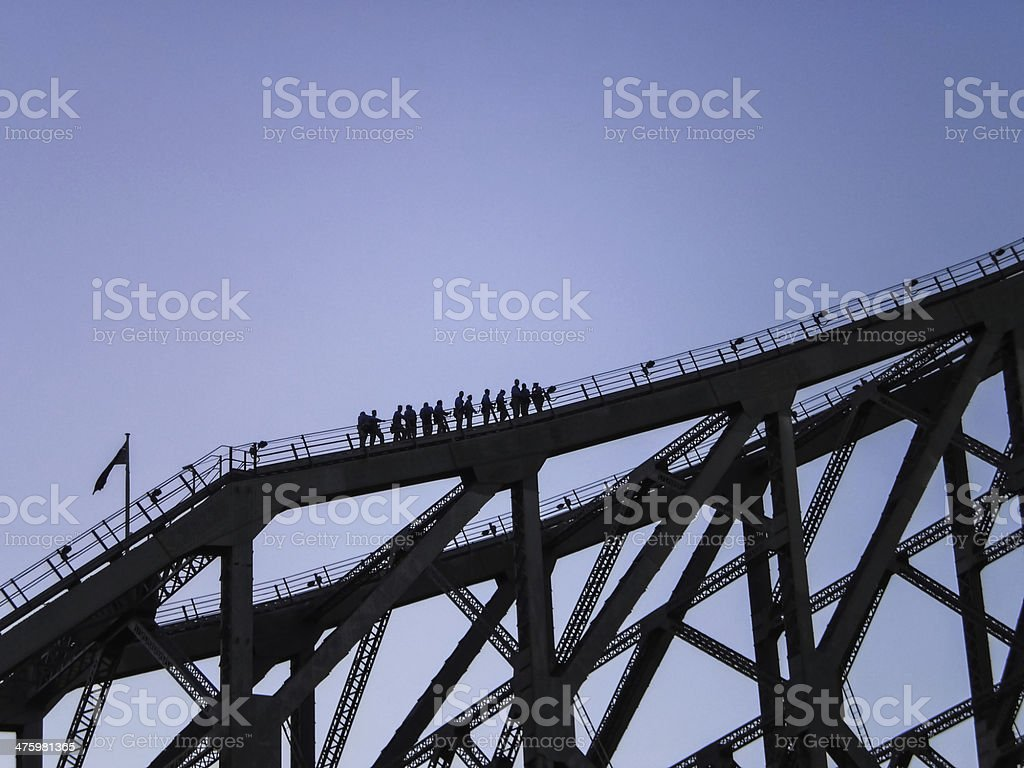 People climbing History bridge in Brisbane. stock photo