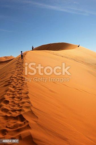 Climbing the 'Big Mama' dune in Sossusvlei Namibia.