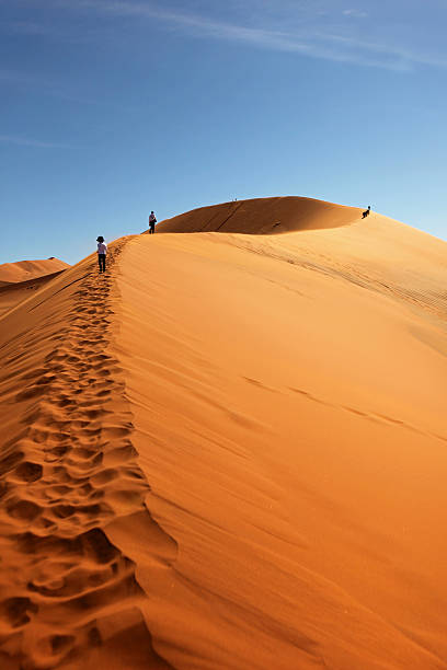 People Climbing Red Sand Dunes at Sossusvlei, Namibia stock photo