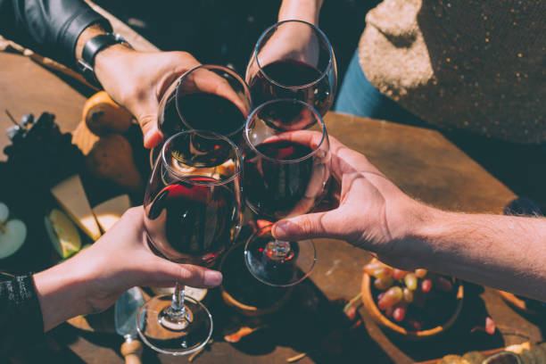 people clinking glasses of delicious red wine cropped shot of group of people clinking glasses of delicious red wine cabernet sauvignon grape stock pictures, royalty-free photos & images