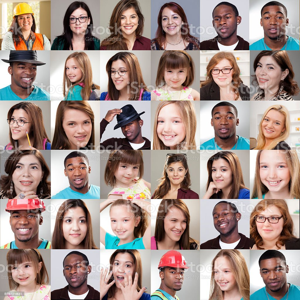 Various expressions on people\'s faces in this multi-ethnic group of...