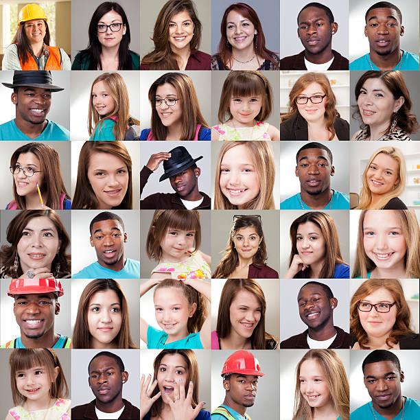 collage di persone.  Diverse espressioni, età, etnie. - foto stock