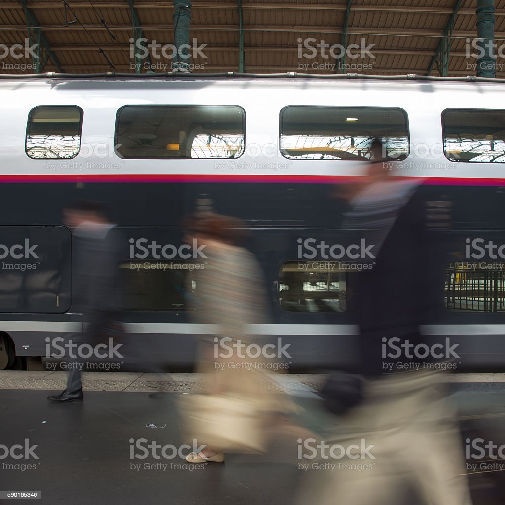 People coming to or leaving train station platform. Lizenzfreies stock-foto