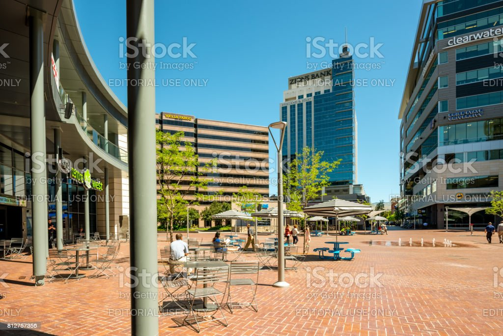People congregate at the Grove downtown Boise enjoying the afternoon stock photo