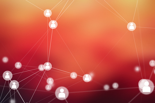istock People Connection lines on red background, social network for technology concept, abstract illustration 939152910