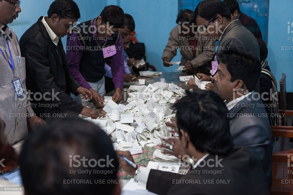 People counting the votes after election stock photo