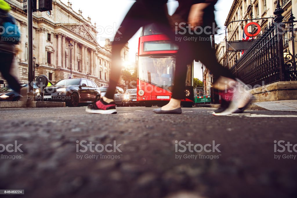 People crossing in Central London stock photo